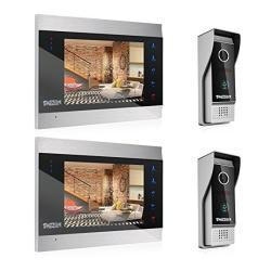 Tmezon 7 Inch Tft Color Display Wired Video Door Phone Doorbell Intercom System Day Night Vision 2-CAMERA 2-MONITOR