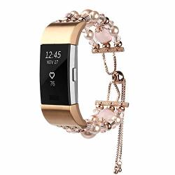 Fashion Women Crystal Beaded Bracelet Band Strap For Fitbit Charge 2 Pink
