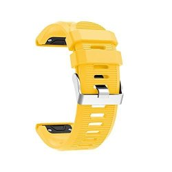 26MM Watchband For Garmin Fenix 5X Plus 3 3 Hr Watch Quick Release Silicone Easy Fit Smartwatch Wrist Band Strap Yellow