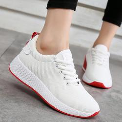 Women Comfortable Sneakers Air Mesh Spring autumn Shoes Solid Black white pink Fema... - White 4.5
