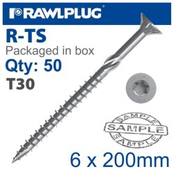 RawlPlug Torx T30 Chipboard Screw 6.0X200MM X50-BOX