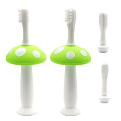 Babyhood Mushroom Baby Infant Training Toothbrush Clean Massage Tongue And Chew Teether Silicone Material Can Removable Replaceable Stand Up 4PCS Green