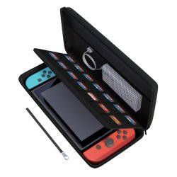 AmCase Carrying Case For Nintendo SWITCH-14 Game Cartridge Holders With Zipper Protective Shell Travel Case Black