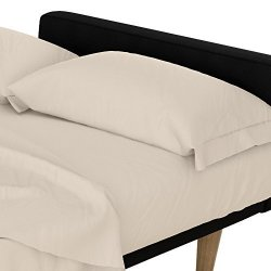 DHP Futon and Twin Sleeper Sofa Microfiber Sheet Set in Natural Beige