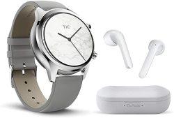 TICWATCH Bundle With C2 Smartwatch Classic Design Gps Nfc IP68 Waterproof - Platinum + Ticpods 2 True Wireless Earbuds - Ice