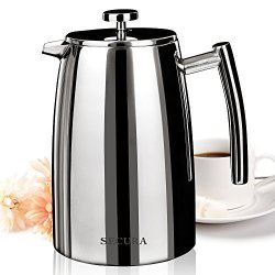 Secura 1000ML French Press Coffee Maker 34-OUNCE Stainless Steel 18 10 SFP-34DSC Extra Stainless Steel Screen