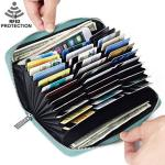 Card Credit Wallet For Women Rfid Blocking 36 Slots Credit Holder Leather Large Capacity Zipper Purse Purple