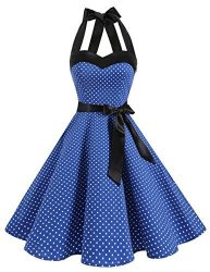 96d60a224 Dresstells Vintage 1950S Rockabilly Polka Dots Audrey Dress Retro Cocktail  Dress Royal Blue Small White Dot XL