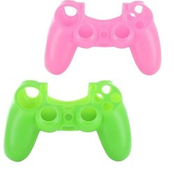 Lilyy 2 Pack Silicone Case Skin Protector Cover For Playstation 4 PS4 Wireless Game Controller Pink Green