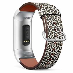 Compatible With Fitbit Charge 3 Charge 3 Se charge 3 Charge 3 Se Se Leather Wristband Bracelet With Stainless Steel Clasp And Adapters - Leopard Design