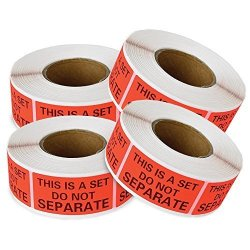 """EnKo Products 2000 Labels This Is A Set Do Not Separate Packaging Labels 1"""" X 2"""" Fluorescent Red Fba Label 4 Rolls Of 500 Labels"""