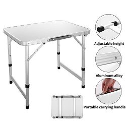 Meflying Height Adjustable Outdoor Folding Table Portable Camping Table  Aluminum Picnic Table For Camping Hiking Bbq Beach Us St | R | Garden