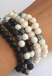Beaded Bracelets - White Skulls And Black Beads