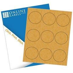 2.5 Inch Brown Kraft Round Labels - Pack Of 900 Circle Stickers 100 Sheets - Inkjet laser Printer - Online Labels