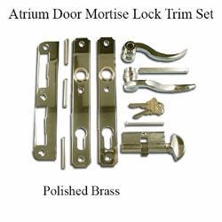 Atrium Lock Door Mortise Trim Set - Polished Brass