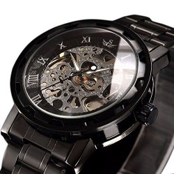 WATCH Mens Luxury Classic Skeleton Mechanical Stainless Steel With Link Bracelet Dress Automatic Wrist Hand-wind Black