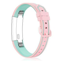 Konikit Soft Adjustable Replacement Band Accessory With Secure Watch Clasps For Fitbit Alta And Alta Hr Pink green