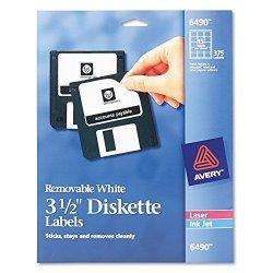 "AVERY-DENNISON Avery Diskette Label - 3.5"" Length - 15 SHEET - Removable - 375 Box - White"