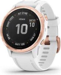 Garmin Fenix 6S Pro Sports Watch - Rose Gold With White Band