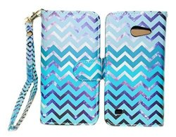 Purple & Teal Chevron Design Wallet Leather Case For Huawei Tribute Fusion 3 Y536A1 With Kickstand