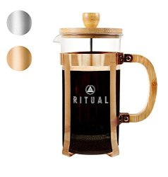 French Ritual Coffee Press Bamboo Wood Borosilicate Glass And Copper Color Frame Coffee Maker With Bonus Filter 36OZ 1000ML