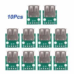 10PCS USB Breakout Board USB To Dip Adapter 2.54MM Breakout Board USB Type A Breakout Board 4 Pins Pinboard MINI USB Breakout Board
