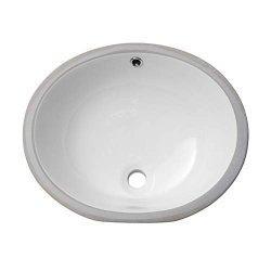 "LORDEAR 19"" Undermount Bathroom Vessel Sink Modern Pure White Oval Porcelain Ceramic Lavatory Vanity Sink"