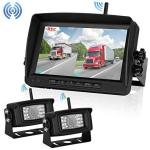 "Digital Wireless Dual Backup Camera 7"" Monitor Kit Split Screen Recorder For Trailer rv truck camper Rear View Camera Night Vis"