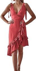 USA Wytong Women's Sleeveless V Neck Ruffle MINI Dress Irregular Casual Wrap Summer Dress For Holiday