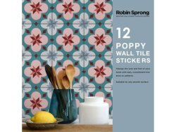 Robin Sprong Poppy Vinyl Wall Tile Stickers Pack Of 12