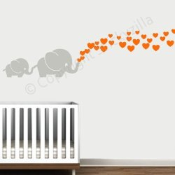 Decal The Walls Cutie Grey Elephants With Colored Bubble Hearts Vinyl Wall Decal Sticker Baby Nursery Play Room Orange Hearts