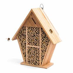 Yoleshy Mason Bee House Hotel Natural Wooden Bee Hive Pollinator Garden House Tube Nest For Mason Bee Bug Insect - 9.84 X 4.33 X