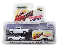 2018 Dodge RAM 2500 Pickup Truck & 1970 Dodge Challenger R t & Enclosed Car Hauler Vanishing Point 1971 Movie 1 64 Diecast Model