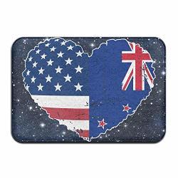 YOUBAH-01 Indoor outdoor Door Mats With New Zealand Usa Flag Heart Graphic For Hallway