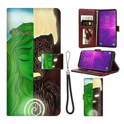 Disney Collection Compatible Samsung Galaxy Note 9 Wallet Case With Disney Moana Te Fiti Ka Pattern Design Magnetic Closure Protective Cover With Card Holder