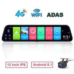 Shizhen D50 12 Inch Full Screen 4G Touch Ips Car Dash Cam Rear View Android 8.1 Mirror With Wifi Gps Navi Bluetooth Music Dual