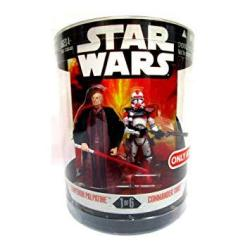 Star Wars Year 2006 Exclusive Order 66 Canister Series 1 1 Of 6 2 Pack 4 Inch Tall Action Figure - Emperor Palpatine With Red Lightsaber And Comman