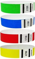 """Goldistock Variety Pack 400 Ct - 100 Each Color - 3 4"""" Tyvek Wristbands- Versatile Set A - Neon Green Neon Blue Neon Red &"""