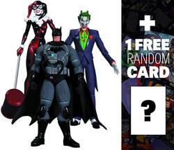 USAB The Joker Harley Quinn Stealth Batman: Dc Collectibles Batman Hush 3-ACTION Figure Box Set + 1 Free Official Dc Trading Card Bundle 316628