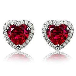 Navachi 925 Sterling Silver 18K White Gold Plated 4.5CT Heart Ruby AZ9131E Stud Earrings