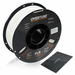 Overture Pla Filament 1.75MM With 3D Build Surface 200MM 200MM 3D Printer Consumables 1KG Spool 2.2LBS Dimensional Accuracy + - 0.05 Mm Fit Most Fdm Printer White