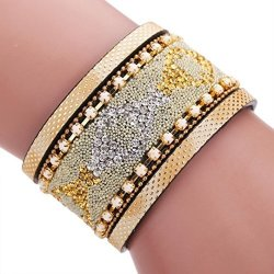WELCOMEUNI-1340 Welcomeuni Women Braided Rope Magnetic Clasp Bracelets Wrist Chains Gift Gold
