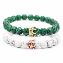 His And Hers Jewelry 8MM Stone Beads Bracelets & Bangles King Queen Couple Bracelet Green White