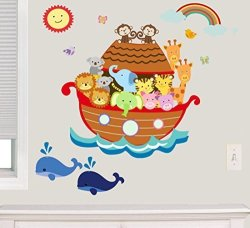 Decal The Walls Noah's Ark Fabric Wall Decal Animal Decals 100% Woven Fabric Decal Ul Greenguard Certified Nursery Kids Room Decor Great Gift Brown