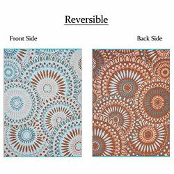 Smart Design Mat SMM005 Reversible Indoor outdoor Rugs- 5X7 Blue