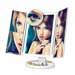 Pavlit Lighted Makeup Mirror Surrounded LED Strip Touch-screen Light Control LED Lighted Vanity Mirror Tri-fold 1X 2X 3X 10X Mag