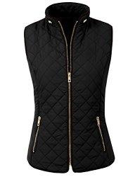 NE People Womens Lightweight Quilted Zip Vest Black XL