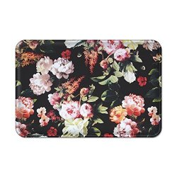 Bathroom Rug Seavish Flowers And Leaves Printed On Black Non Slip Soft Flannel Foam Shower Mat Absorbent Kitchen Door Carpet Mac