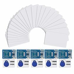 Izokee Rfid Kit - 5 Set RC522 Rf Ic Reader Sensor Module With 25PCS Additional S50 Key Card As Gift And Rfid Chip Key