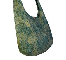 BTP Thai Cotton Hippie Hobo Sling Crossbody Bag Messenger Purse Paisley Print Large Green PL23